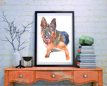 Load image into Gallery viewer, German shepherd Alsatian dog Painting watercolor Blue Orange Alsatian art print - Dog portraits by Oscar Jetson