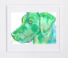 Load image into Gallery viewer, Labrador art print Green lab dog gift labrador dog watercolor art print - Dog portraits by Oscar Jetson