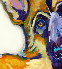 Load image into Gallery viewer, German Shepherd Dog Painting colorful, GSD dog Print , watercolor and acrylic Alsaian Dog GSD owner gift, German Shepherd painting art print - Dog portraits by Oscar Jetson