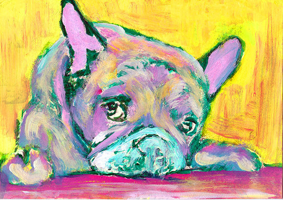 French Bulldog art Print,Yellow, Green, Pink Frenchie Dog, Colorful French bull, Frenchie dog, watercolor French bulldog dog owner gift - Dog portraits by Oscar Jetson