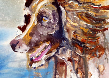 Load image into Gallery viewer, Wet Springer Spaniel Oil painting print, Gift for Springer , Wet Dog portrait,Spaniel picture colorful art print, Springer Spaniel wall art - Dog portraits by Oscar Jetson