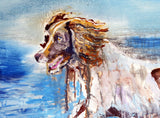 Wet Springer Spaniel Oil painting print, Gift for Springer , Wet Dog portrait,Spaniel picture colorful art print, Springer Spaniel wall art - Dog portraits by Oscar Jetson - 3