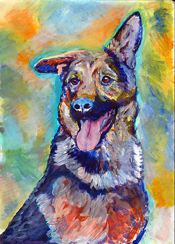 German Shepherd Print, GSD dog Print , GSD owner gift, German Shepherd art, wall art print, GSD lover, gsd lover, gsd art print - Dog portraits by Oscar Jetson