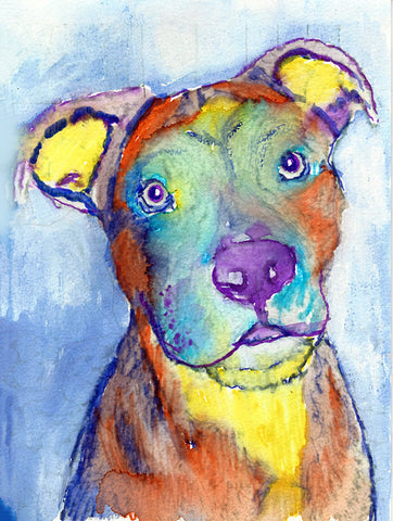 American Staffy colorful Dog Painting,American staffy dog Print ,watercolor American Staffie owner gift, Staffordshire bull wall art print - Dog portraits by Oscar Jetson - 1