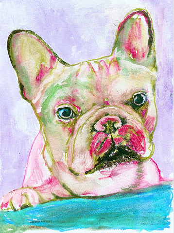 French Bulldog art Print, Rose and Aqua Marine Frenchie Dog, Colorful Canine Art, Rose Pink and Aqua watercolor French bulldog owner gift - Dog portraits by Oscar Jetson