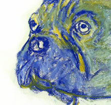 Load image into Gallery viewer, Blue French Bulldog art Print,Yellow and Blue, Frenchie Dog, Colorful French bull, Bulldog Frances, Pastel French bulldog dog owner gift - Dog portraits by Oscar Jetson