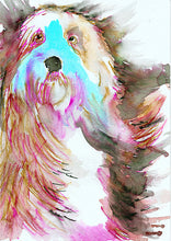 Load image into Gallery viewer, Old English Sheepdog art print,Sheep dog,Watercolor,Old English sheepdog owner gift,Red and Aqua Marine dog art print ,Colorful dog portrait - Dog portraits by Oscar Jetson