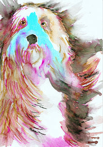 Old English Sheepdog art print,Sheep dog,Watercolor,Old English sheepdog owner gift,Red and Aqua Marine dog art print ,Colorful dog portrait - Dog portraits by Oscar Jetson