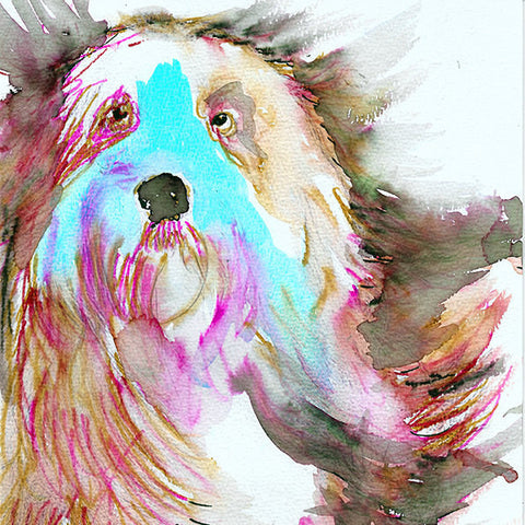 Old English Sheepdog art print,Sheep dog,Watercolor,Old English sheepdog owner gift,Red and Aqua Marine dog art print ,Colorful dog portrait - Dog portraits by Oscar Jetson - 1