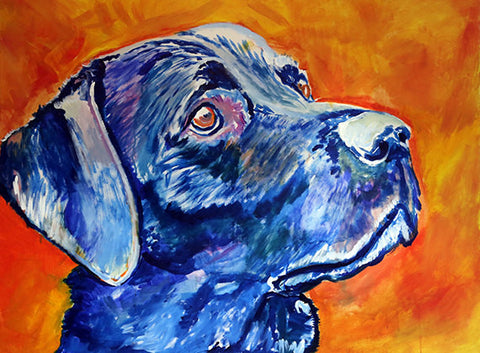 Blue Labrador Retriever Dog painting Fine art print hand signed by Oscar Jetson - Dog portraits by Oscar Jetson