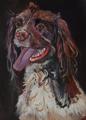 Springer Spaniel Oil painting print, Gift for Springer spaniel owner, Dog portrait,Spaniel picture Fine art print, Springer Spaniel wall art - Dog portraits by Oscar Jetson - 1
