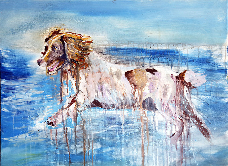 Wet Springer Spaniel Oil painting print, Gift for Springer , Wet Dog portrait,Spaniel picture colorful art print, Springer Spaniel wall art - Dog portraits by Oscar Jetson
