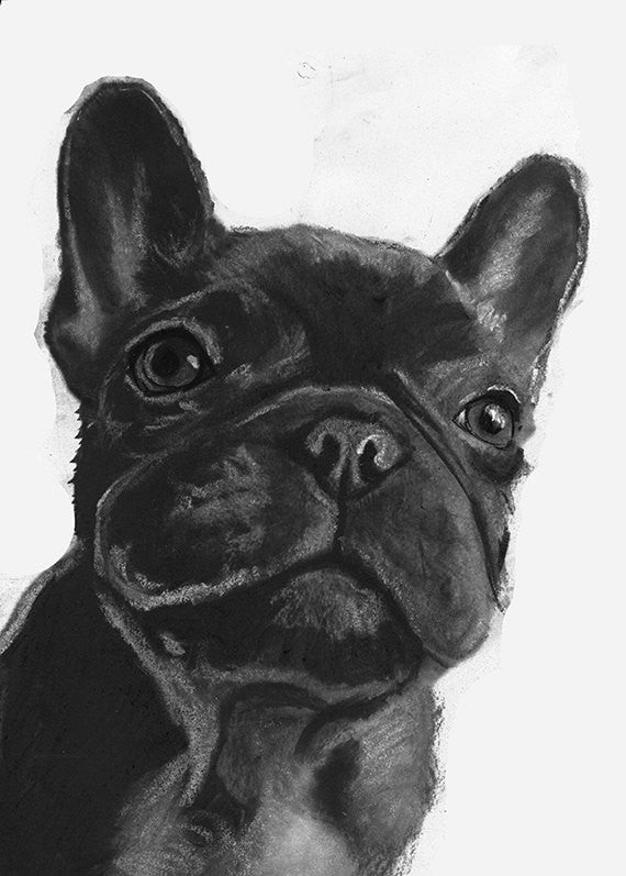 French bulldog art print, Frenchie gift,Frenchie Art, Black frenchie, French Bulldog decor, French Bulldog owner gift, Frenchie art print - Dog portraits by Oscar Jetson