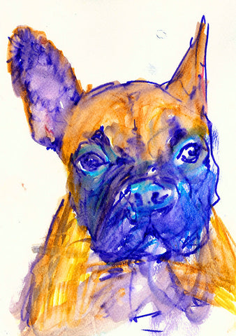 French Bulldog owner gift, Frenchie Print, Colorful French Bulldog,Gift for French Bulldog owner,Frenchie art,Dog loss gift,French Bulldog - Dog portraits by Oscar Jetson