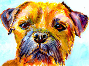 Border Terrier print, border terrier gift,Border Terrier owner, border terrier wall art, border terrier lover, border terrier painting. - Dog portraits by Oscar Jetson
