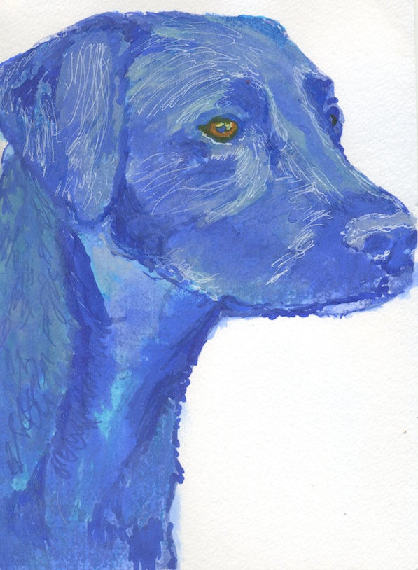Labrador painting print, Blue Lab art, Gift for labrador owner, Abstract Dog Art, Labrador Retriever picture, Blue Labrador dog painting - Dog portraits by Oscar Jetson