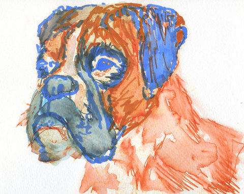 Boxer dog Painting Portrait poster Print from Original painting  hand Signed Orange Canine wall Art gift idea - Dog portraits by Oscar Jetson