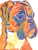 Boxer Dog painting Giclee print Artist Signed Orange Canine Art Boxer dog art print - Dog portraits by Oscar Jetson - 2