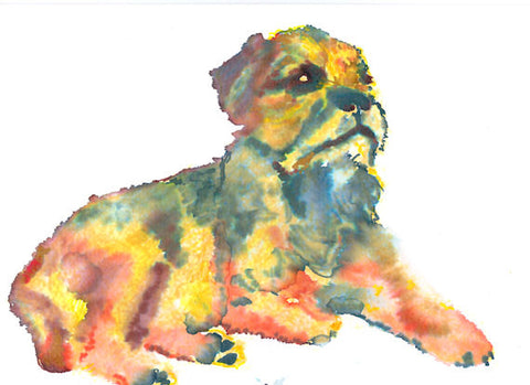 Border terrier Watercolour dog Painting art print hand signed - Dog portraits by Oscar Jetson