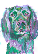 Load image into Gallery viewer, Cocker Spaniel CANVAS, art Print, of Original Watercolor and Acrylic painting, Green and Lilac working Cocker Spaniel colorful dog print - Dog portraits by Oscar Jetson