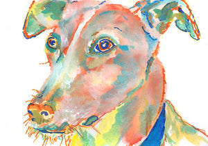 Lurcher dog painting Giclee wall art painting Signed Canine Art Watercolor and Acrylic painting Dog Portrait - Lurcher art print - Dog portraits by Oscar Jetson