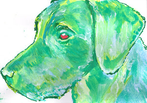 Labrador art poster print from painting Green abstract Labrador dog gift idea - Dog portraits by Oscar Jetson
