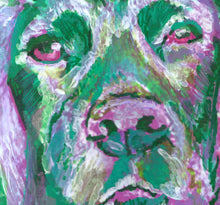 Load image into Gallery viewer, Working Cocker spaniel dog Painting Purple Green watercolor art print - Dog portraits by Oscar Jetson