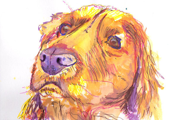 Golden Retriever Dog Poster Print Artist Signed Yellow Canine Art Golden retriever gift idea - Dog portraits by Oscar Jetson