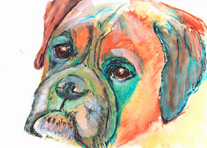 Boxer Dog Portrait Giclee Print from Pen and Watercolor Signed Orange Teal Canine Art boxer gift idea boxer dog painting print - Dog portraits by Oscar Jetson