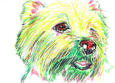 Painting Dog Portrait West Highland Terrier Westie Giclee print from Original   Artist Signed Green Yellow Canine Art Dog gift idea - Dog portraits by Oscar Jetson