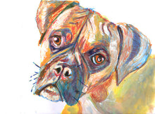 Load image into Gallery viewer, Boxer Dog painting, warm orange and ochre tones hand signed boxer dog art print - Dog portraits by Oscar Jetson