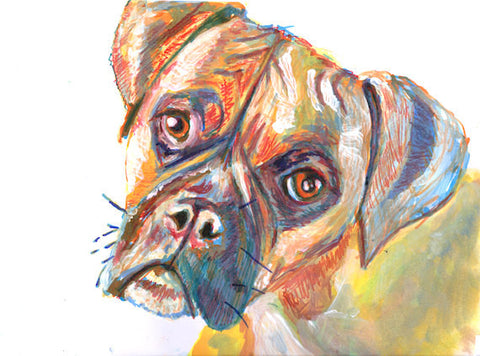 Boxer Dog painting, warm orange and ochre tones hand signed boxer dog art print - Dog portraits by Oscar Jetson