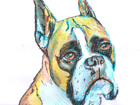 Boxer Dog Painting print, Boxer Dog Portrait, Boxer Dog Art, boxer docked ears, boxer dog picture, Colorful dog art, watercolor boxer dog - Dog portraits by Oscar Jetson
