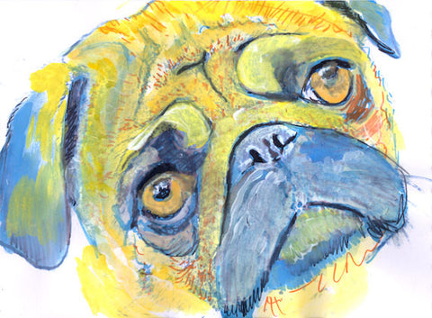 Colorful Pug Dog Portrait Poster Art  Giclee print from Watercolor Pen and Ink Painting Gift idea. - Dog portraits by Oscar Jetson