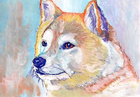 Akita  painting art print colorful wall art  hand signed Akita gift idea Akita Inu dog art print - Dog portraits by Oscar Jetson