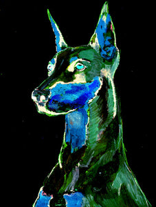 Doberman art doberman pinscher wall art print Dog gift idea ,Colorful Abstract home decor animal print  Doberman Portrait Art print - Dog portraits by Oscar Jetson