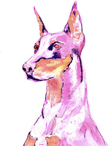 Doberman art print Dog Painting, Pink Purple Print of watercolor and acrylic dog art - Dog portraits by Oscar Jetson