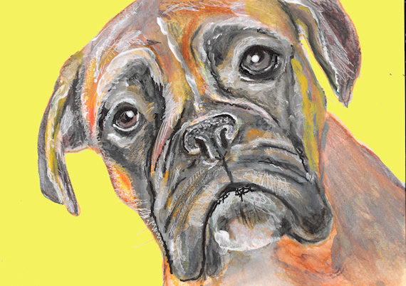 Boxer Dog wall art Print of Original Painting Mustard Yellow background hand signed Boxer dog wall art gift idea - Dog portraits by Oscar Jetson