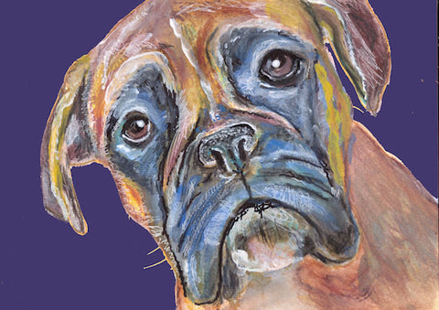 Boxer Dog Painting Poster Print of Original watercolor Navy Blue Boxer dog gift idea 5x7, 8x10 or Larger - Dog portraits by Oscar Jetson