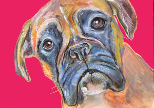 Boxer Dog Painting Poster Print of Original Watercolor Red Background Boxer dog canine gift idea - Dog portraits by Oscar Jetson