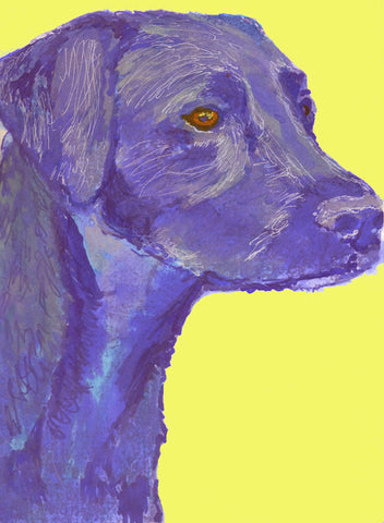 Labrador retriever print, Labrador Dog Painting, Lab dog wall art , marine Blue and lemon yellow labrador art print - Dog portraits by Oscar Jetson