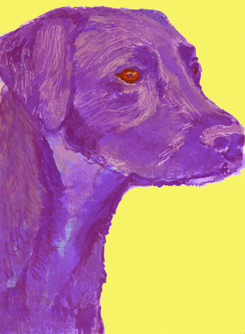 Labrador Dog Painting, Print of Original Art 29.7 x 42.0cm, 11.69 x 16.53 inches Purple with Yellow Background-holiday gift idea - Dog portraits by Oscar Jetson