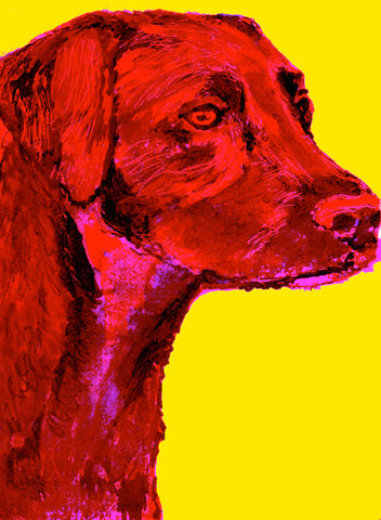 Labrador Dog Painting art poster Print Crimson red Yellow expressive style Labrador dog breed gift idea - Dog portraits by Oscar Jetson