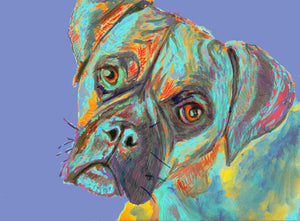 Boxer Dog Painting Canvas Print of Original Painting Aquamarine - Boxer Dog gift idea - Dog portraits by Oscar Jetson