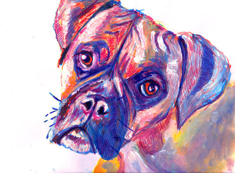 Canvas Boxer Dog Print of Original Painting Dark Blue Orange and warm brindle tones colorful boxer dog gift idea - Dog portraits by Oscar Jetson