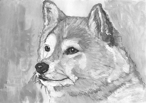 Akita Dog Print monochrome poster Print of Original painting hand signed - Dog portraits by Oscar Jetson