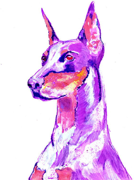 Pink Doberman Dog Painting, Funky Print of Original Art 21 x 29.7cm-holiday gift idea - Dog portraits by Oscar Jetson