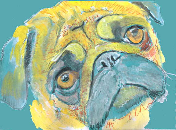 Pug Dog Painting, Print of Original Art 29.7 x 42.0cm, 11.69 x 16.53 inches Yellow/Aquamarine expressive style-holiday gift idea - Dog portraits by Oscar Jetson