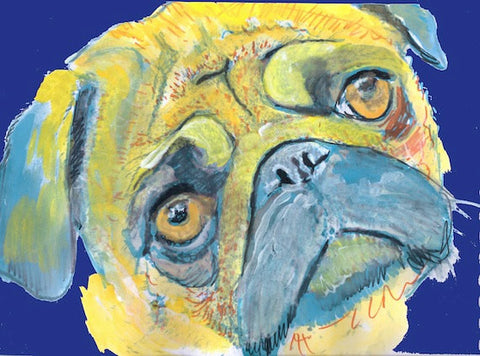 Pug Dog Painting, Print of Original Art 21 x 29.7cm Yellow/Blue colourful Pug dog art-holiday gift idea - Dog portraits by Oscar Jetson