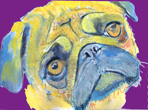 Pug Dog Painting, Print of Original Art 29.7 x 42.0cm, 11.69 x 16.53 inches Cool Pug colourful signed Pug dog art-holiday gift idea - Dog portraits by Oscar Jetson